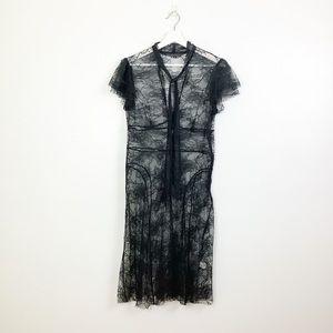 Trina Turk Black Sheer Lace Dress Size 8